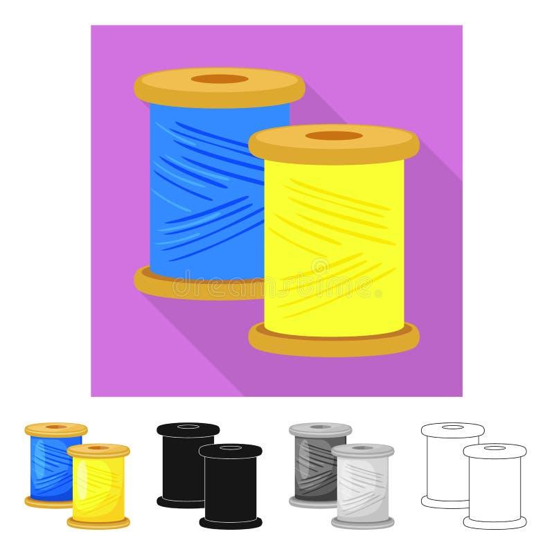 Vector illustration of thread and spool logo. Collection of thread and reel stock vector illustration. Isolated object of thread and spool icon. Set of thread stock illustration