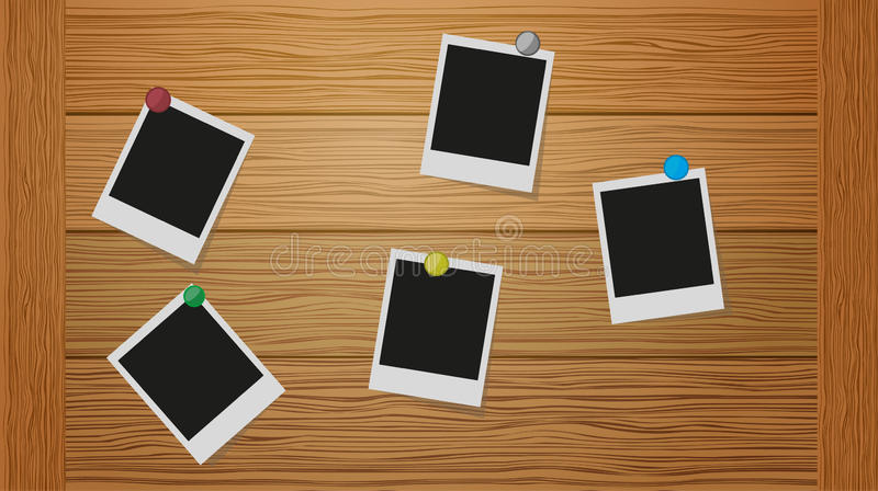 Vector illustration of three blank retro polaroid photo frames over wooden background stock illustration