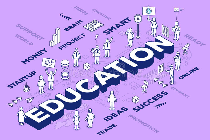 Vector illustration of three dimensional word education with people and tags on purple background with scheme. Knowledge concept. stock illustration