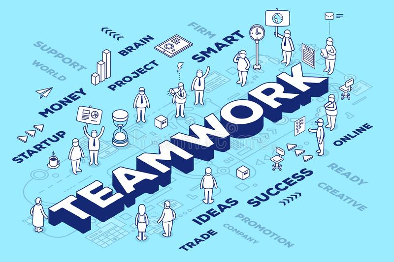 Vector illustration of three dimensional word teamwork with people and tags on blue background with scheme. Business teamwork con royalty free illustration