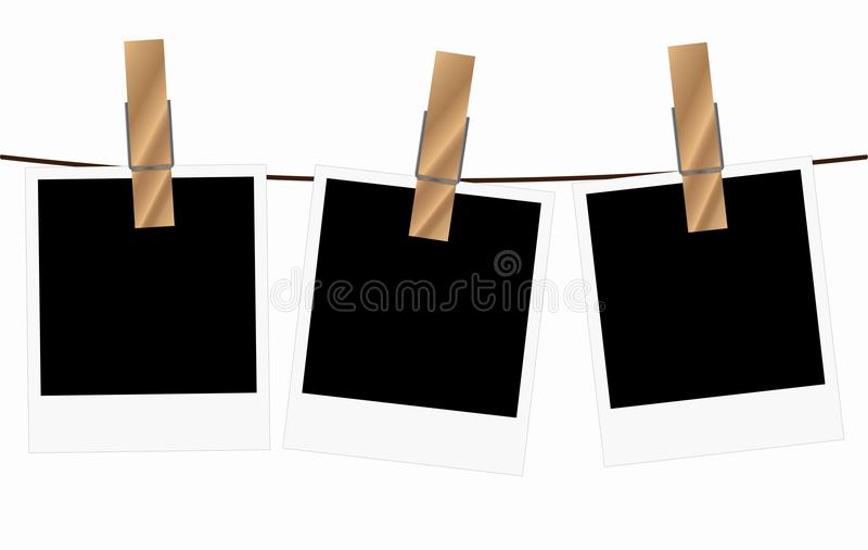 Three blank polaroid frames hanging on a rope vector illustration