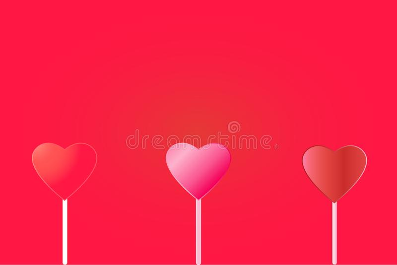 Vector illustration of three hearts on a red background. Valentine`s Day royalty free illustration