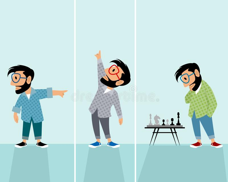 Hipsters in different situations. Vector illustration of three hipsters in different situations vector illustration