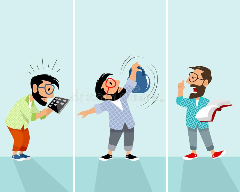Hipsters in different situations. Vector illustration of three hipsters in different situations stock illustration
