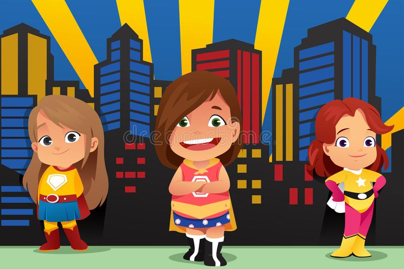 Three Little Girls Wearing Superheroes Illustration. A vector illustration of Three Little Girls Wearing Superheroes royalty free illustration