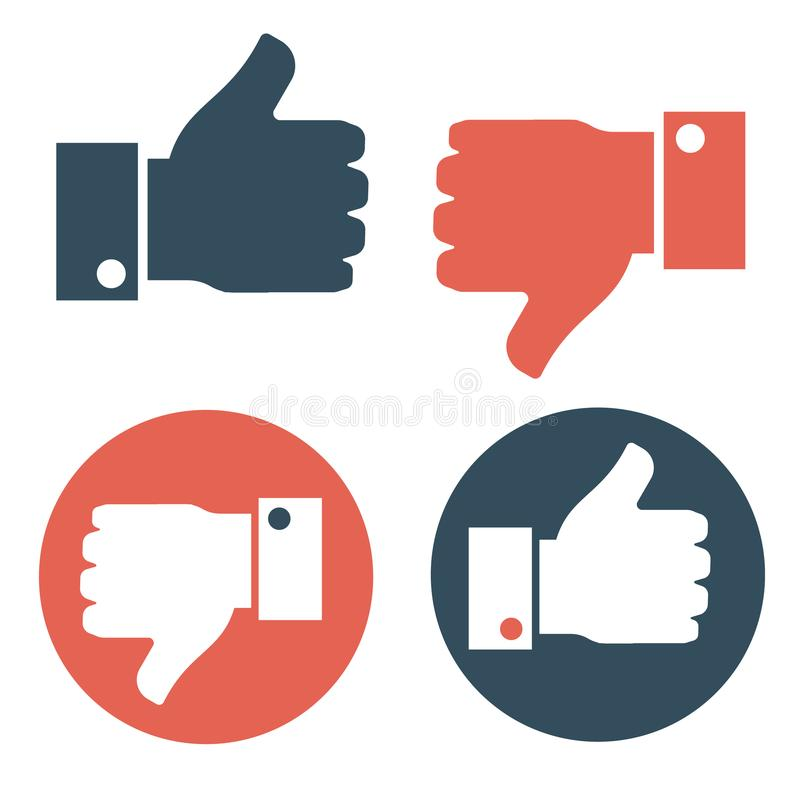 Thumbs Up and Thumbs Down. Vector illustration. Thumbs up and thumbs down. Red and blue color. Hand icon stock illustration