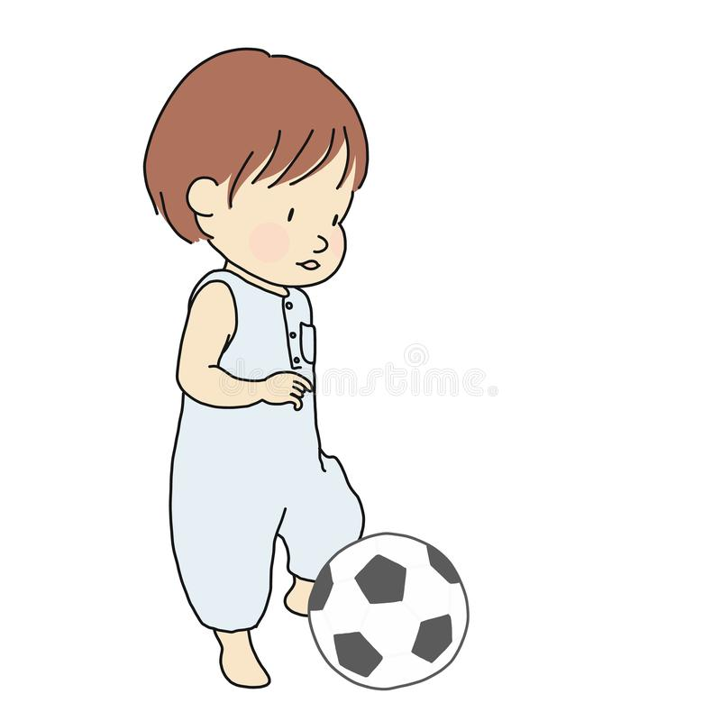 Vector illustration of toddler trying to kick football soft toy. Little kid playing ball. Early childhood development activity vector illustration