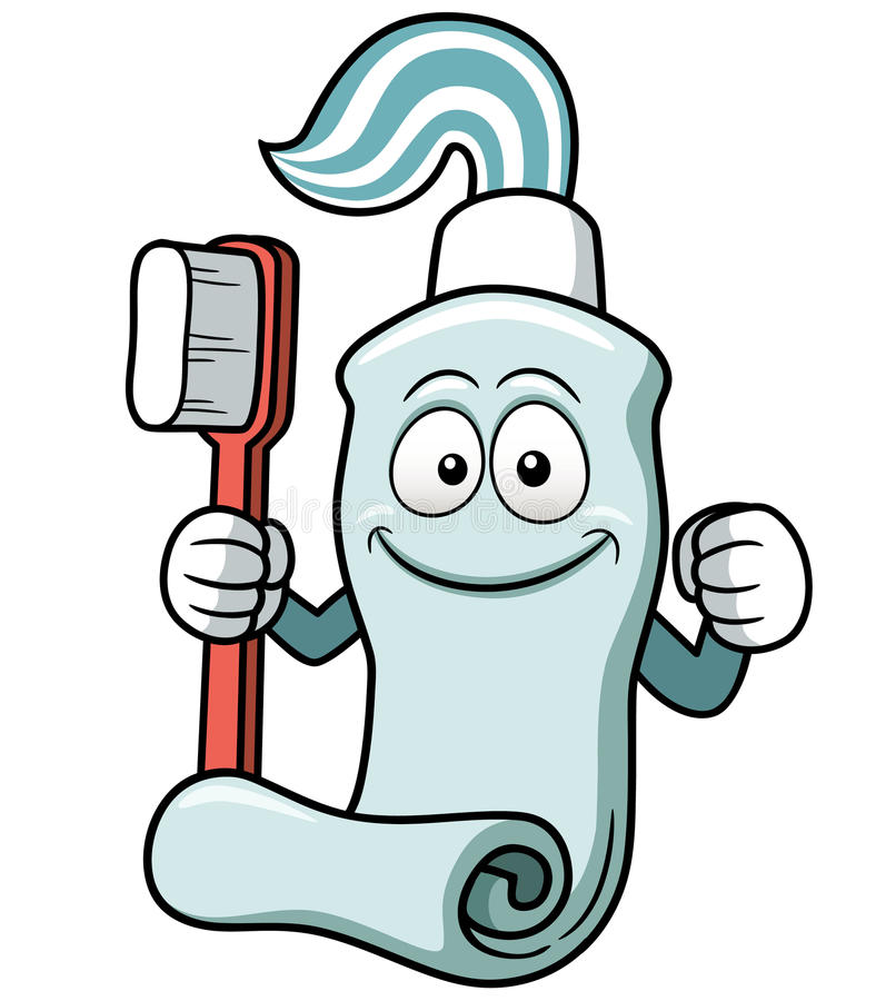 Toothbrush and toothpaste cartoon royalty free illustration