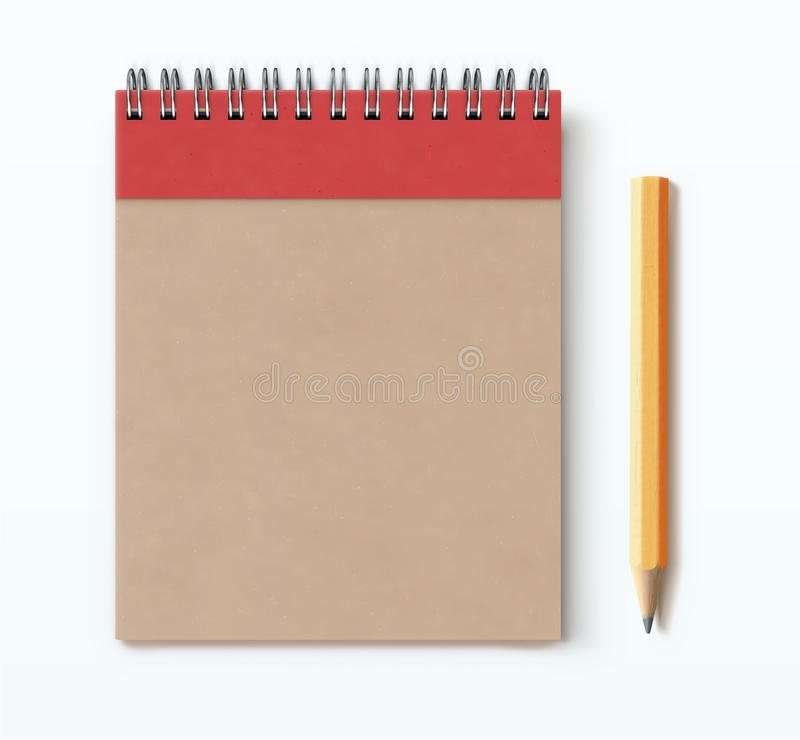 Spiral brown notebook. Vector illustration of top view of closed spiral brown craft paper cover notebook with detailed classic yellow pencil on white desk vector illustration