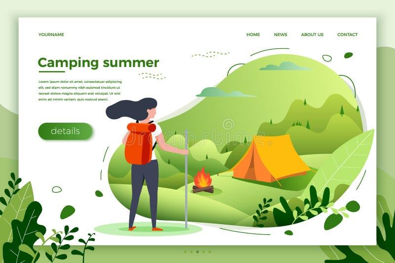 Vector illustration - tourist girl look on camp stock illustration