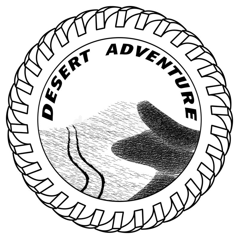 Vector illustration traces of an SUV on sand dunes in the desert stock illustration