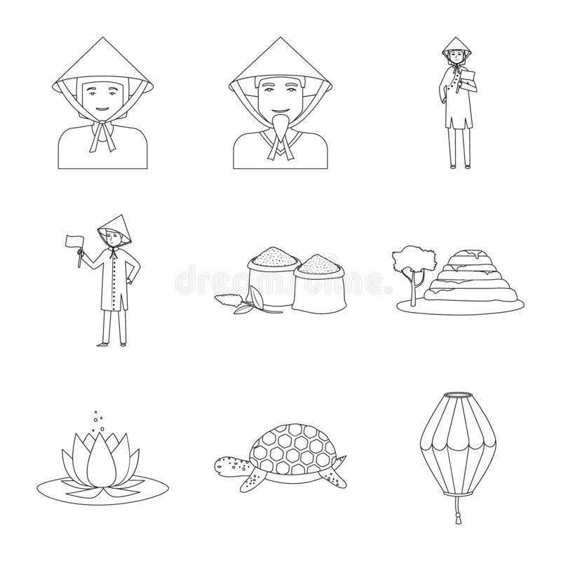 Vector design of traditional and travel icon. Set of traditional and landmark stock vector illustration. royalty free illustration