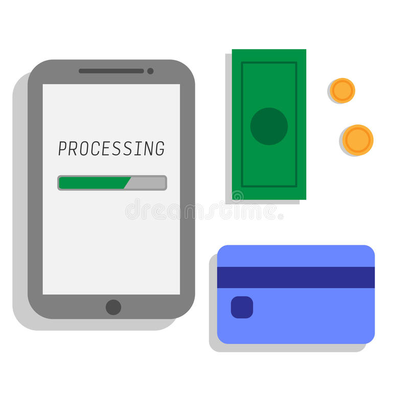 Vector illustration of transfer from phone money online payment royalty free stock photos