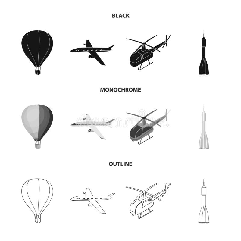 Vector illustration of transport and object icon. Set of transport and gliding stock symbol for web. royalty free illustration