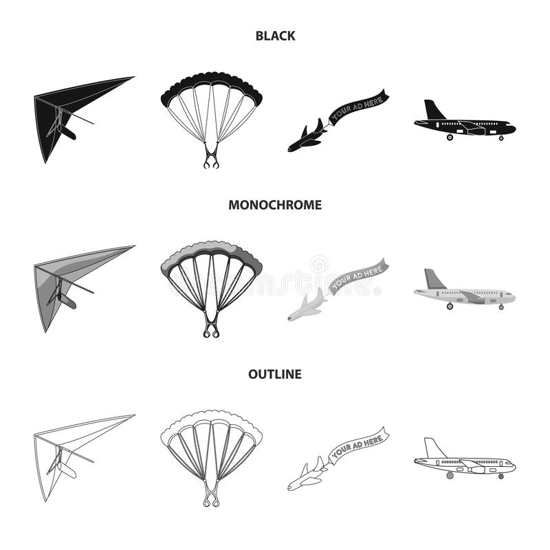 Vector illustration of transport and object icon. Set of transport and gliding vector icon for stock. vector illustration