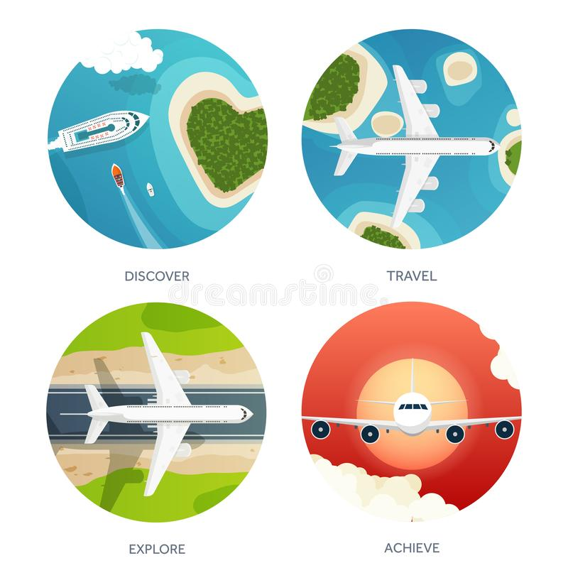 Vector illustration. Travel and tourism. Airplane, aviation. Summer holidays vacation. Plane landing. Flight air. Travelling. Sky aerial tropical background stock illustration