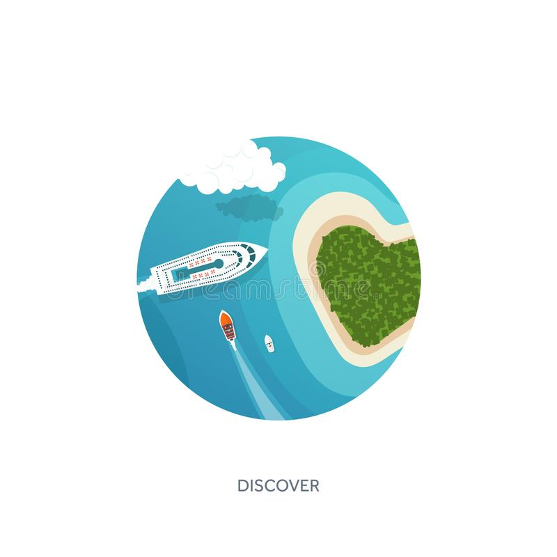 Vector illustration. Travel and tourism. Airplane, aviation. Summer holidays vacation. Plane landing. Flight air. Travelling. Sky aerial tropical background vector illustration