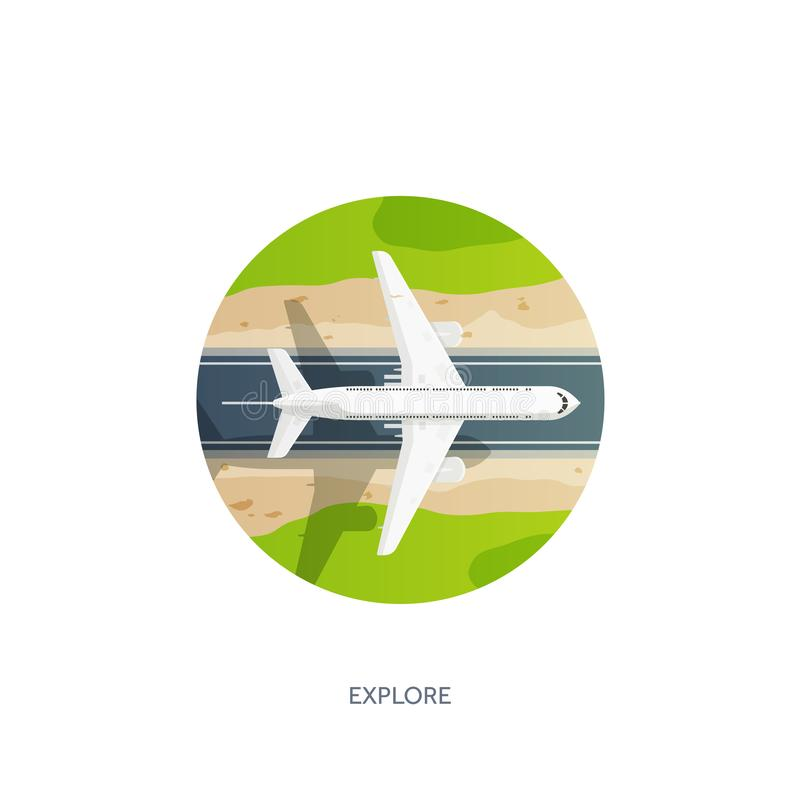 Vector illustration. Travel and tourism. Airplane, aviation. Summer holidays vacation. Plane landing. Flight air. Travelling. Sky aerial tropical background royalty free illustration