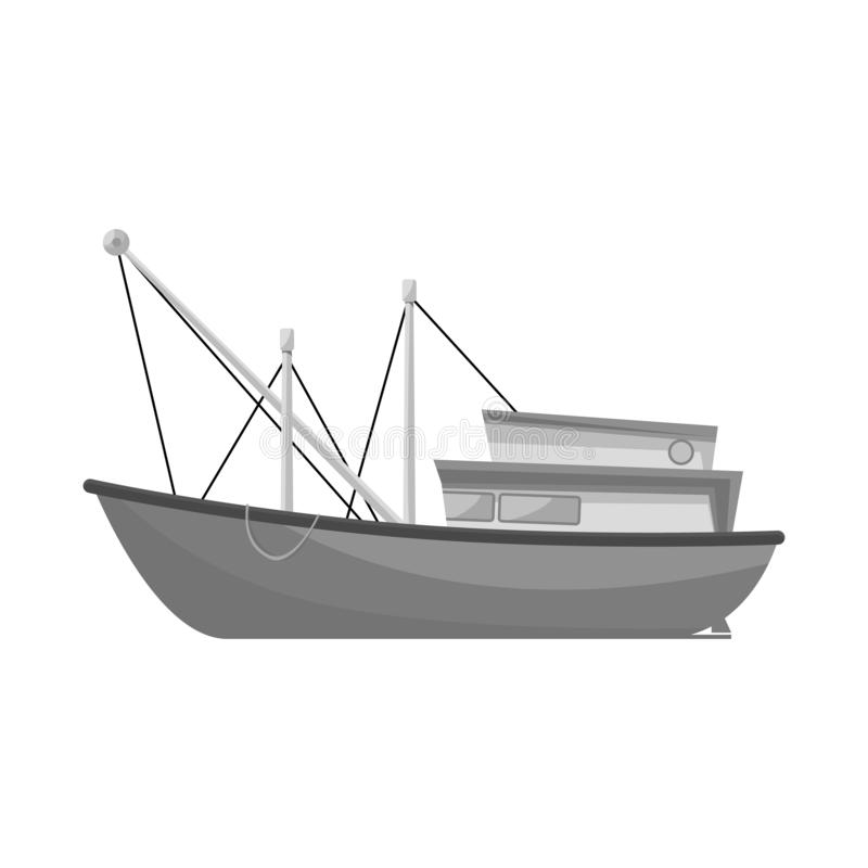 Vector illustration of trawler and fishery icon. Collection of trawler and ocean stock symbol for web. Isolated object of trawler and fishery symbol. Set of vector illustration