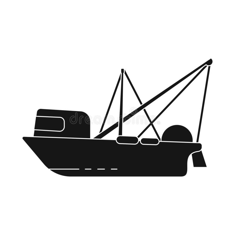 Vector design of trawler and ocean logo. Set of trawler and hull stock symbol for web. Vector illustration of trawler and ocean icon. Collection of trawler and vector illustration