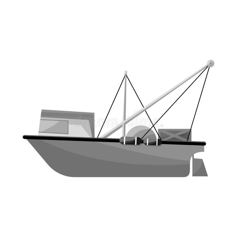 Vector design of trawler and ocean symbol. Collection of trawler and hull stock symbol for web. Vector illustration of trawler and ocean sign. Set of trawler royalty free illustration
