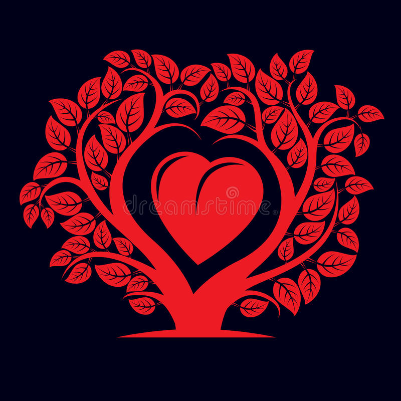 Vector illustration of tree with branches in the shape of heart royalty free illustration
