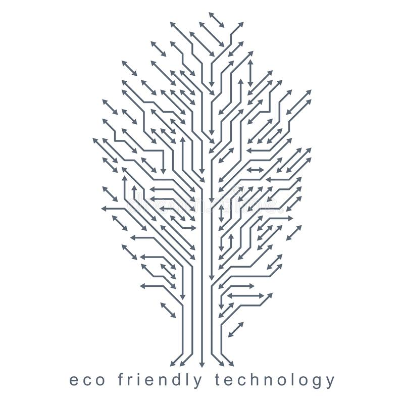 Vector illustration of tree created with wireframe and lines connected as branches. Eco friendly technology concept royalty free illustration
