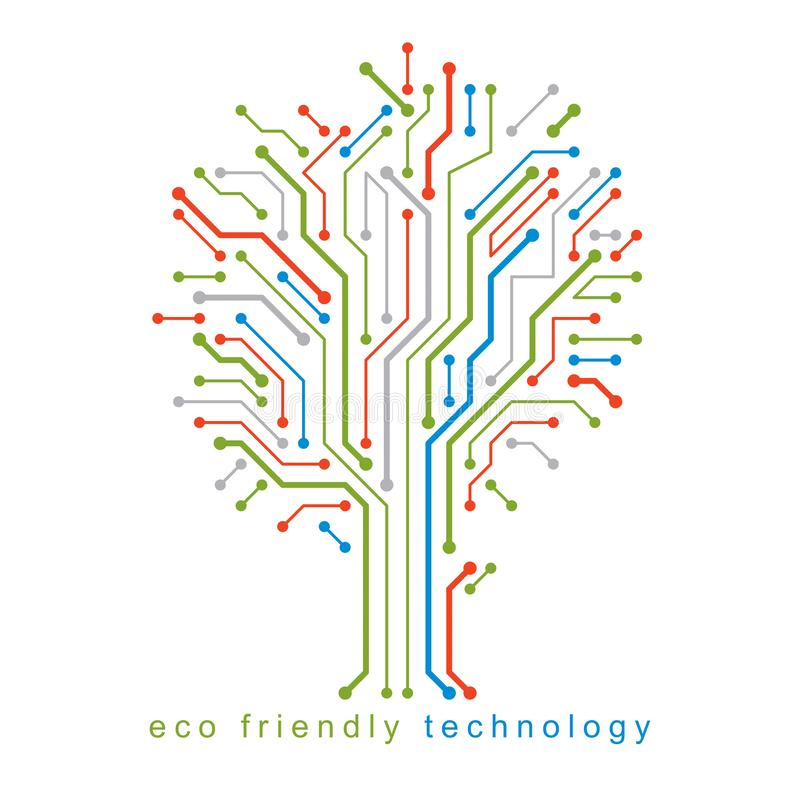 Vector illustration of tree created with wireframe and lines connected as branches. Eco friendly technology concept stock illustration