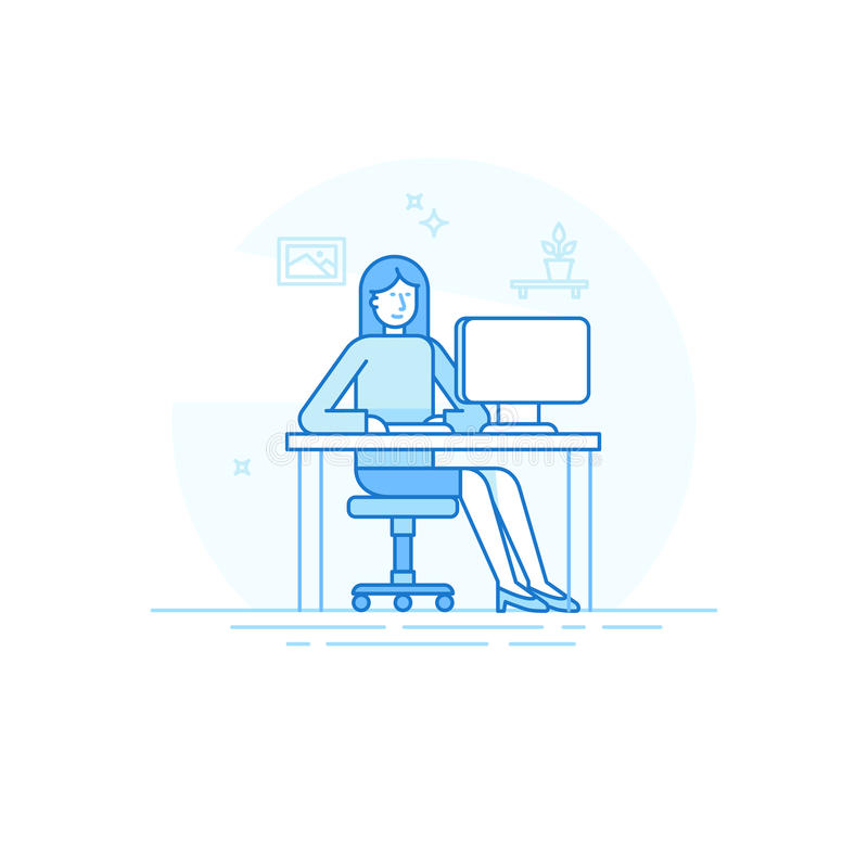 Vector illustration in trendy flat linear style and blue colors vector illustration