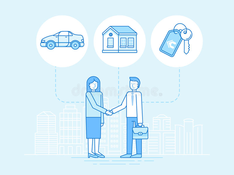 Vector illustration in trendy flat linear style - sharing economy and collaborative consumption. Concept and infographic design elements - peer to peer lending royalty free illustration