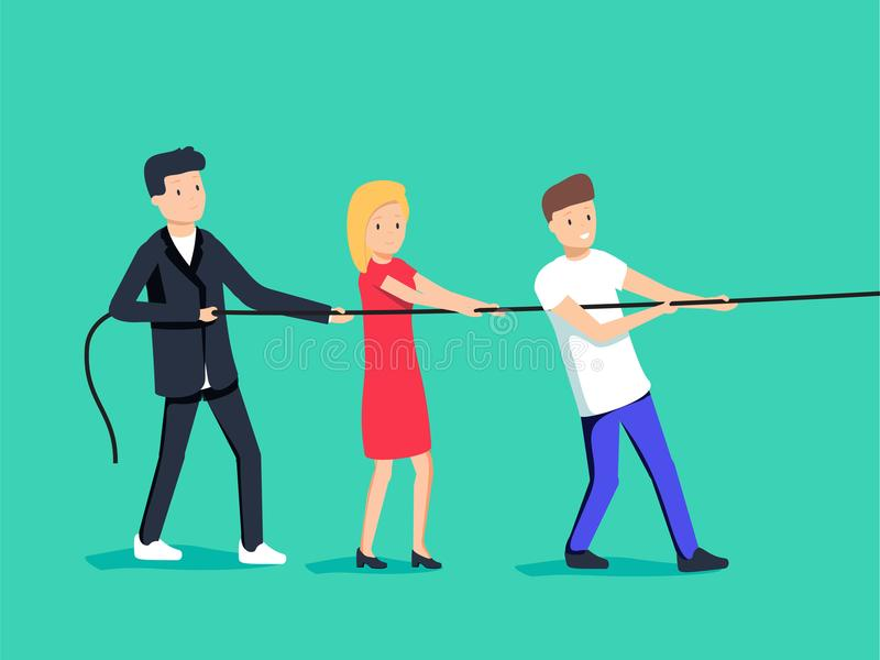 Vector illustration in trendy flat style and colors - teamwork concept - people pulling rope vector illustration