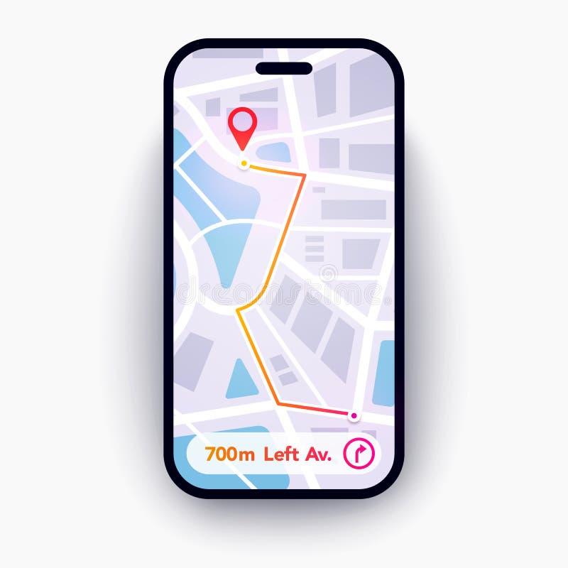 Vector Illustration Trendy Infographic City Map Navigation. Mobile App Interface Concept Design. royalty free illustration