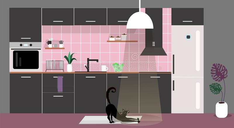 Vector illustration of trendy interior of black kitchen with wood and white elements. Scandinavian and cozy design vector illustration