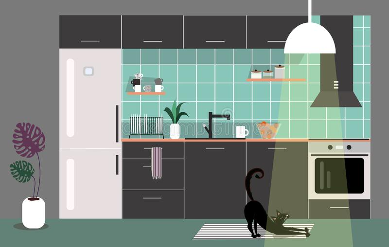 Vector illustration of trendy interior of black kitchen with wood and white elements. Scandinavian and cozy design royalty free illustration