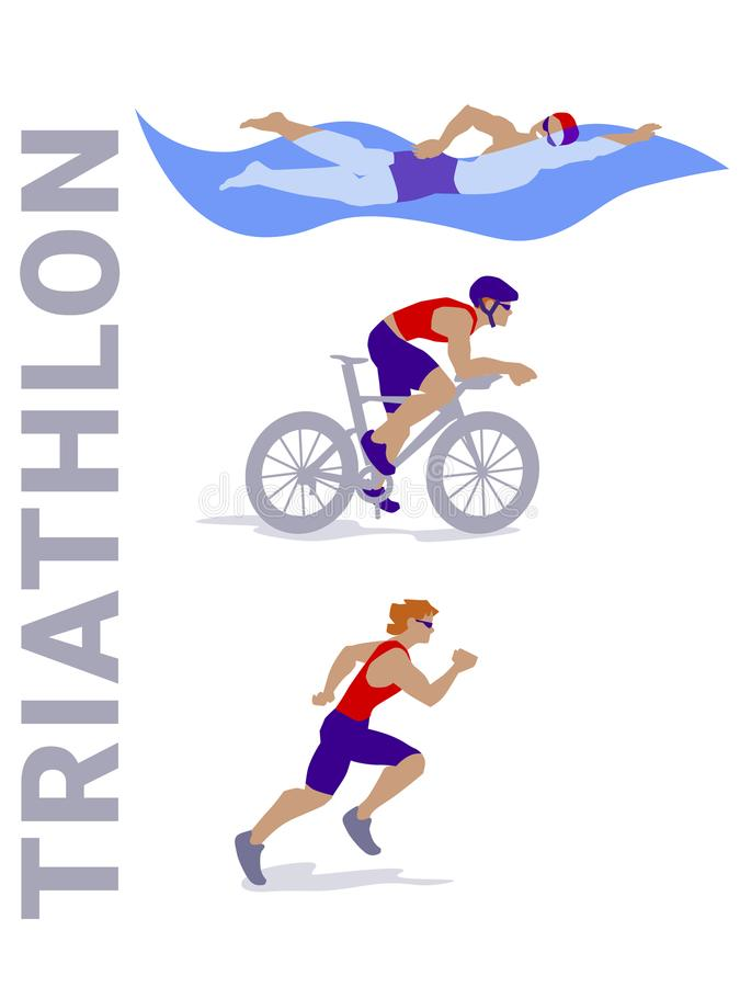 Triathlon colourful vector set with bike. royalty free illustration