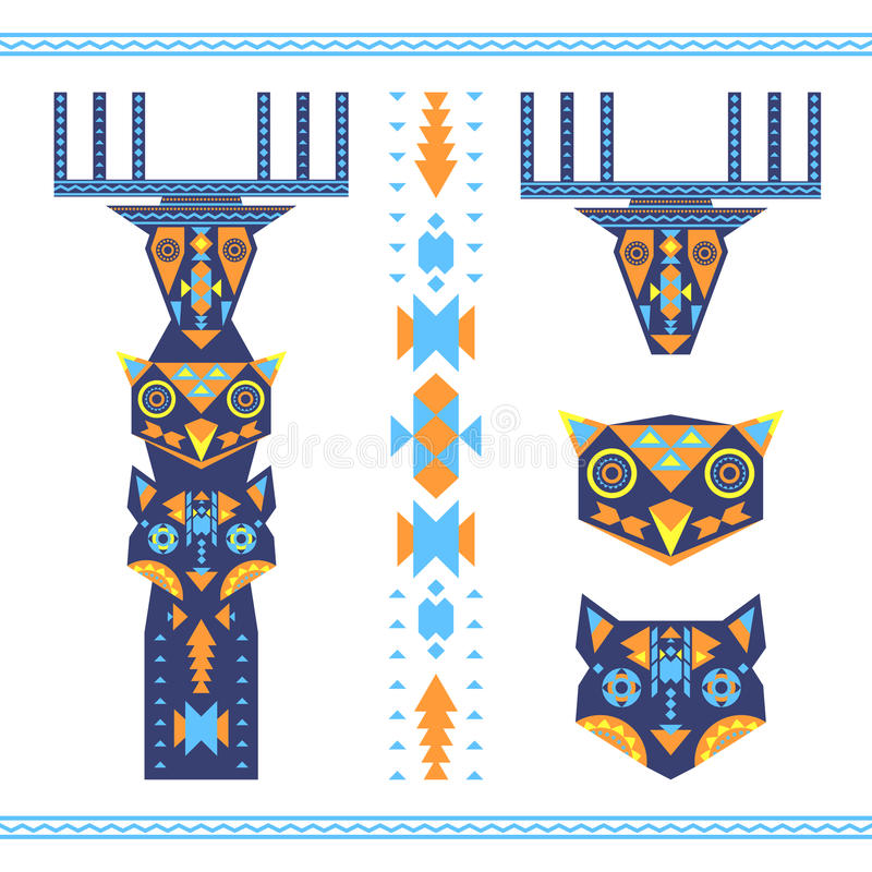 Vector illustration of tribal totem with the heads of animals stock illustration