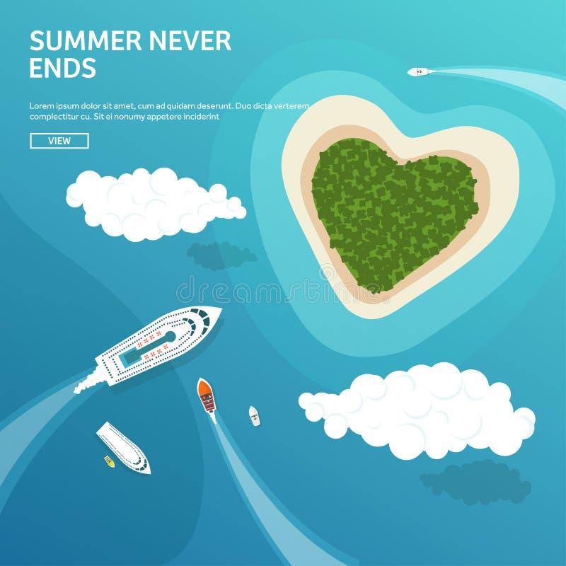 Vector illustration. Tropical island. Summer holidays vacation. Sun ocean sea. Travel. Blue lagoon. Oasis seascape. Vector illustration. Tropical island. Summer vector illustration