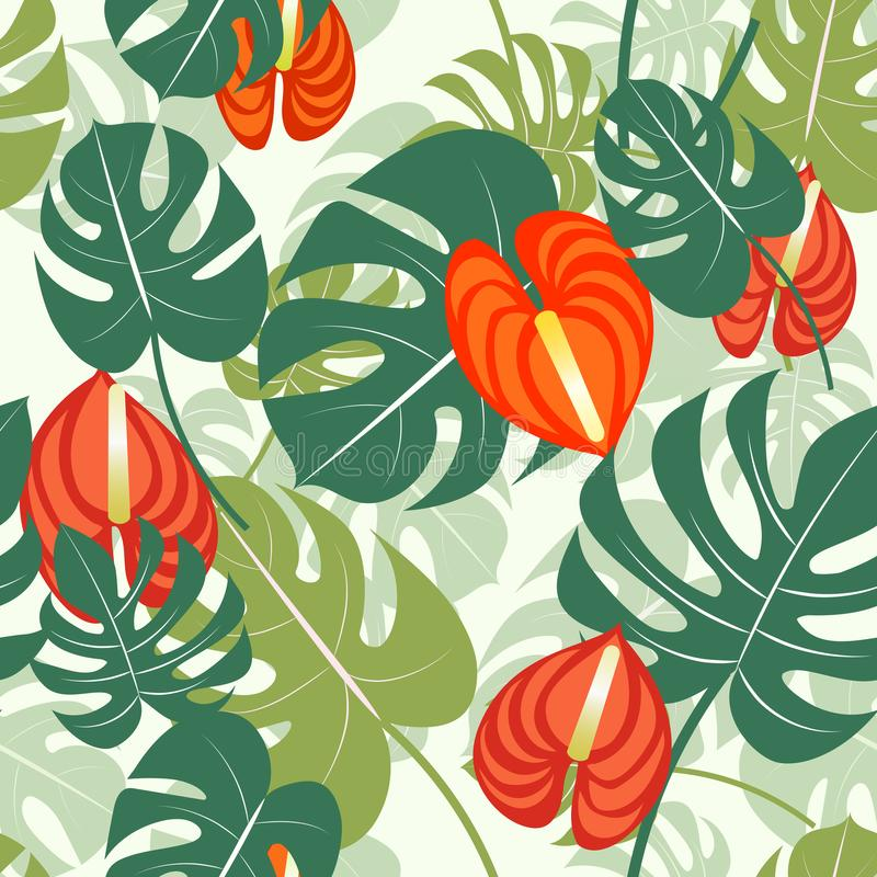 Vector illustration with tropical leaves. Seamless tropical pattern with stylized monstera leaves and flowers. vector illustration
