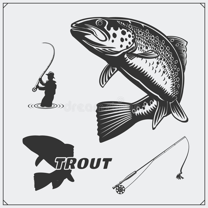 Vector illustration of a trout fish and fishing design elements. vector illustration