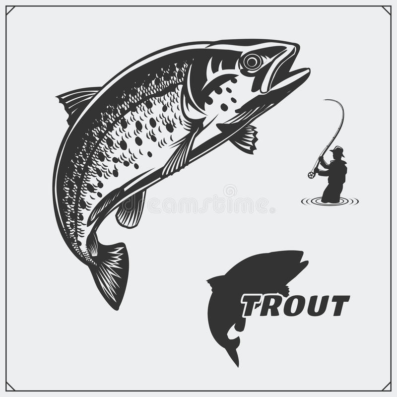 Vector illustration of a trout fish and fishing design elements. stock illustration