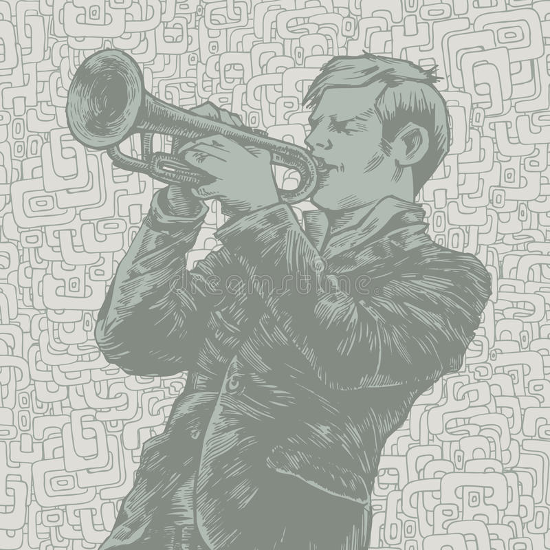 Vector Illustration With Trumpeter Stock Photos