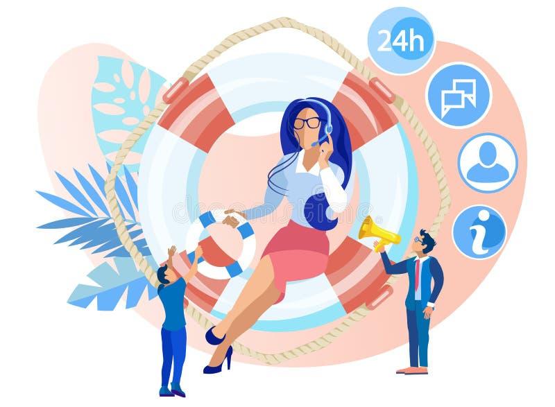 Vector Illustration 24 on7 Trust Help Cartoon Flat stock illustration