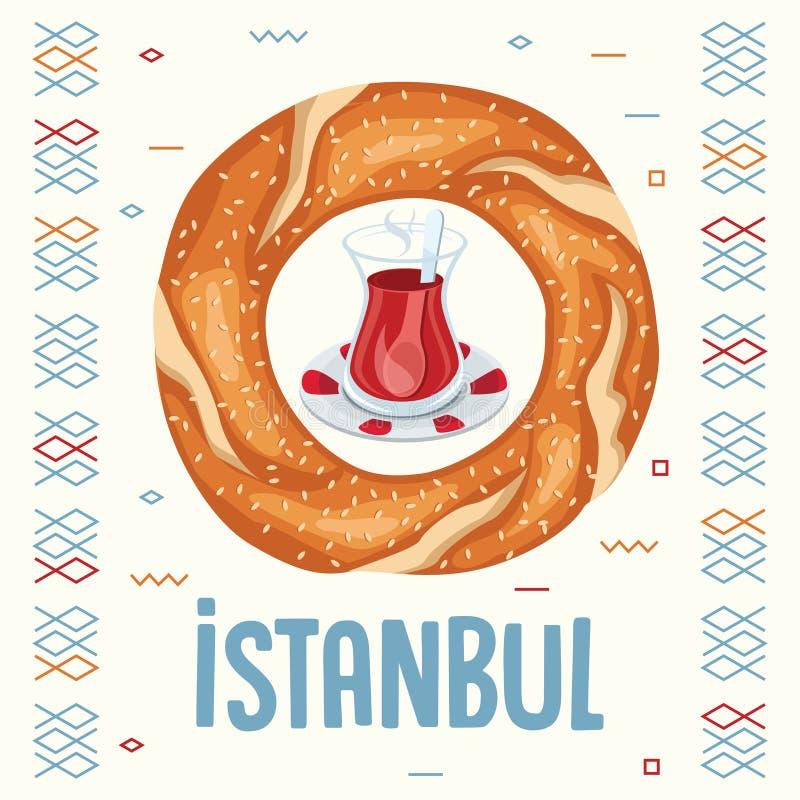 Vector Illustration Of Turkish Bagel Amd Tea. Eps 10 royalty free illustration