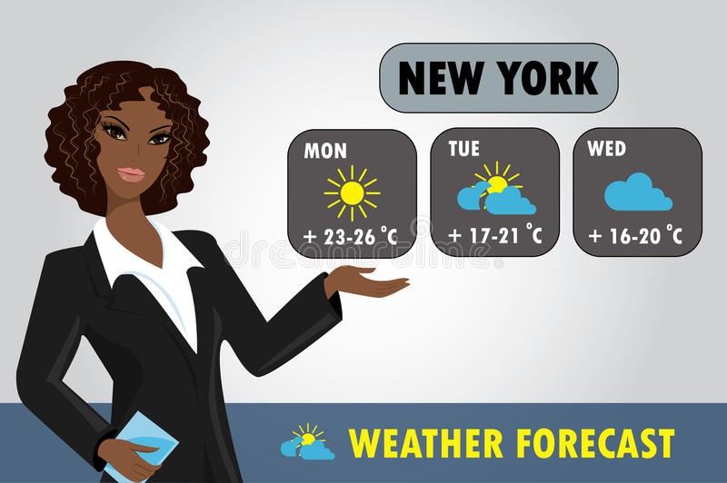 Vector illustration of a TV weather reporter at work. stock illustration