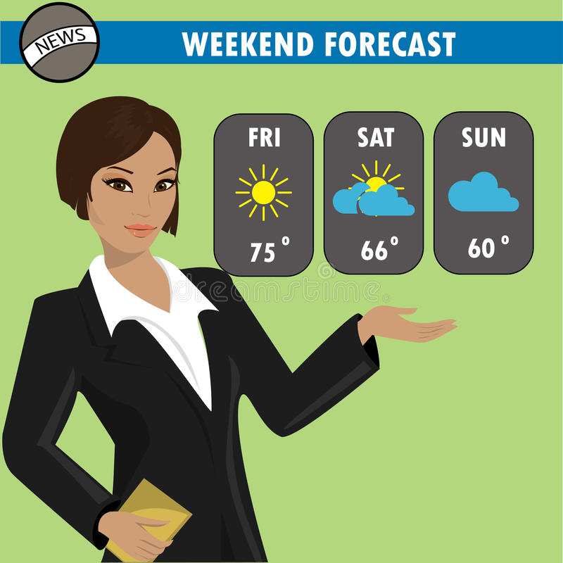 A vector illustration of a TV weather reporter at work. stock illustration