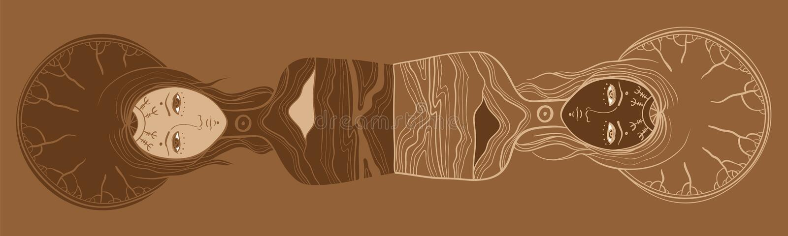 Vector illustration of twins, Yin and yang, body and soul, dualism royalty free illustration