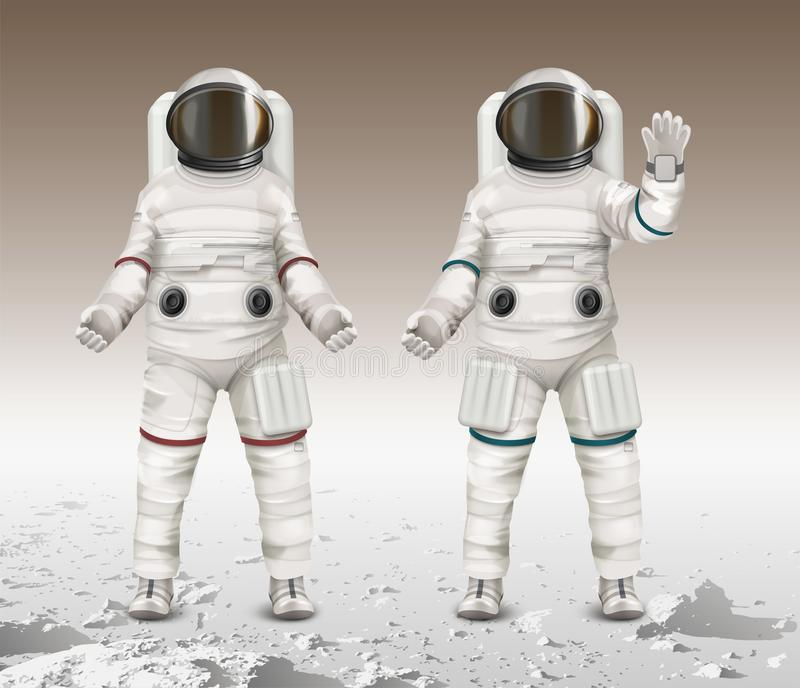 Vector illustration of two astronauts wearing space suits and walk exploring mars on moon stock illustration