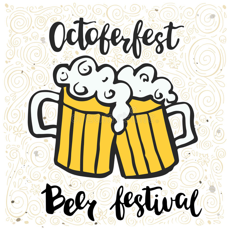Vector illustration with two beer mugs and an inscription Octoberfest festival. Vector illustration with two beer mugs and an inscription Octoberfest festival vector illustration