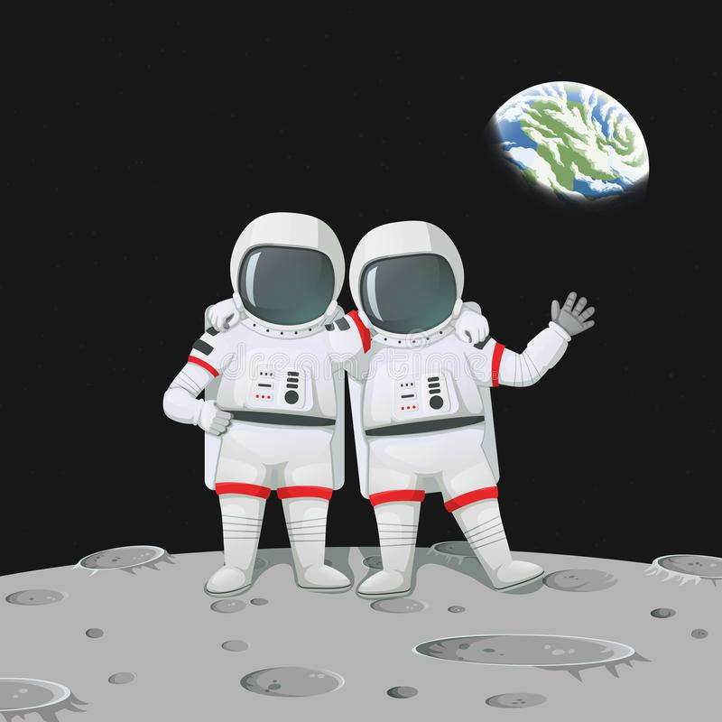 Two astronauts with hands on shoulders standing on the moon surface. Vector illustration. Two friendly astronauts waving and with hands on shoulders standing on stock illustration