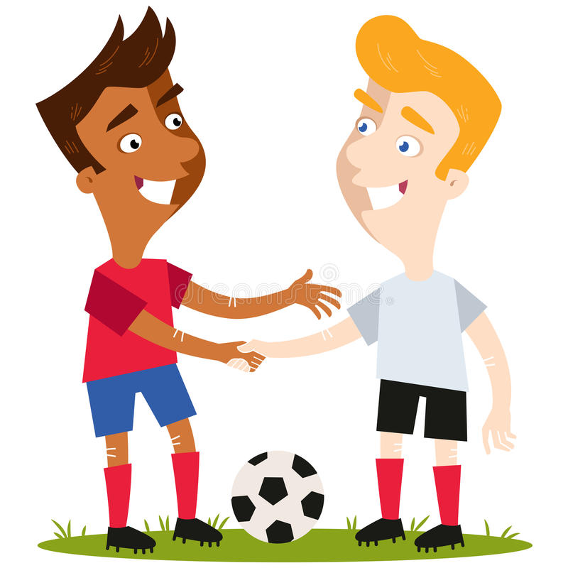 Vector illustration of two friendly cartoon soccer players standing on football field with ball shaking hands with respect. Vector illustration of two friendly vector illustration